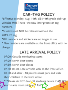 Car Tag & Drop Off Policies